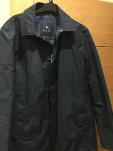 Magee Mens Navy 3/4 Length Coat Full Zip & Buttons Size 42R Monogrammed Lining