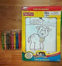 Fisher Price Little People Color By Number 1 sheet plus 8 Jumbo Crayons 2004