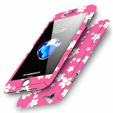 Printed 360° Shockproof Hard Case Cover Tempered Glass For Apple iPhone 8 7 6s 5