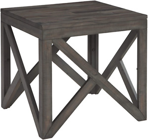 Signature Design by Ashley Haroflyn Rustic Square End Table, Gray