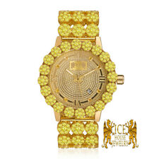 Real Diamond Canary Gold Custom Roman Flower Ice House Men's Luxury Watch W/Date
