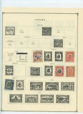 Panama stamp collection on album pages - early to mid 1900's