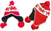 New Wales Kids Cymru Rugby Football Peruvian Red Welsh Dragon Knitted Hat