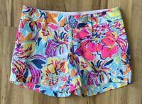"Women's Lilly Pulitzer 5"" Neon Hawaiian Floral Callahan Shorts Size 0"