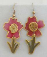 Vintage Pressed Flower & Stems Earrings Real Pink Green Botanical Resin Dangles