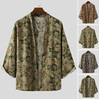 Vintage Men's Japanese Yukata Coat Kimono Jacket 3/4 Sleeve Loose Top Cardigan