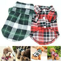 Cute Plaid T Shirt Lapel Coat Cat Jacket Cloth Apparel Tops for Small Pet Dog US