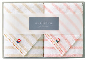 Japanese Natural Towel Collection Imabari Beige & Pink Face towel 2pcs Japan New