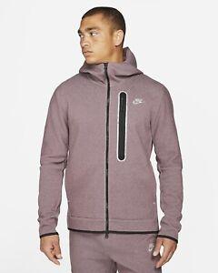 Nike Sportswear Tech Fleece Full Zip Hoodie Dark Wine Heather Sz Lg DD4688-646