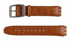 Original Swatch 17mm Irony Leder Armband Grey Sky AYAS406 Neuware