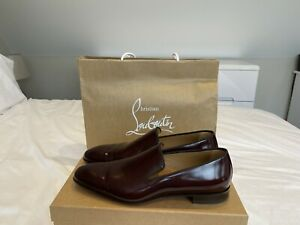 Christian Louboutin Mens Dandelion Flat Cuir Laque/GG Oxblood Shoes