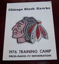 Chicago Black Hawks  Training Camp Media Guide & schedules 1976