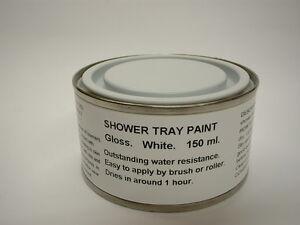 1 x 150ml Gloss White Shower Tray And Bath Base Paint.
