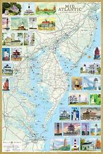 Mid-Atlantic Lighthouses Illustrated Map NJ MD PA DE VA Laminated Poster 24x36