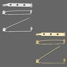 10 Plated 1 1/2 inch Locking Bar Pin & Brooch Back Craft Findings With Holes