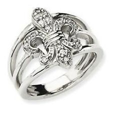 14 KT WHITE Gold Pave Diamond Fleur de Lis Wide Cigar Band Ring SPECIAL ORDER