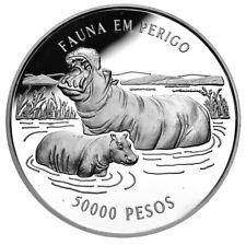 GUINEA-BISSAU 50,000 Pesos 1996 Silver Proof 'Hippos'
