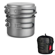 Camping Backpacking Ultra Light Titanium 3 Pc Cookware Nesting Set Pots Fry Pan