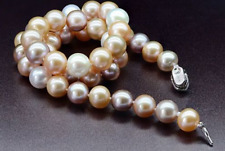 """9-10 mmsouth sea round white  gold pink purple multicolor pearl necklace 18"""" F5"""