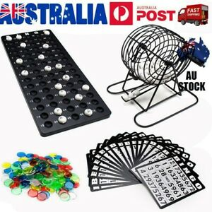 Traditional Bingo Game Set Cage Balls Cards Markers Board Kit Family Fun Box AU