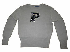 Polo Ralph Lauren Gray Track Football Varsity Patch P Wing Prep Sweater XL