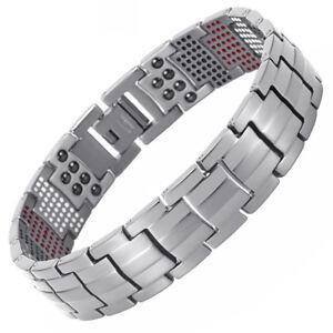 Double Strength 4 Elements PURE Titanium Magnetic Therapy Bracelet Pain Relief