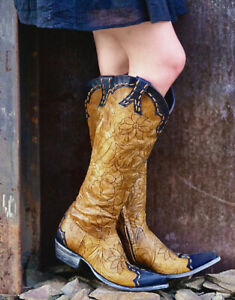 """FL 667-11 RF OLD GRINGO REBECA MAYRA RELAXED FIT BUTTERCUP NAVY 18"""" TALL WOMENS"""