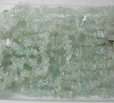 "India 100% Natural Light Blue Aquamarine Chip Bead Crystal Necklace 18"""