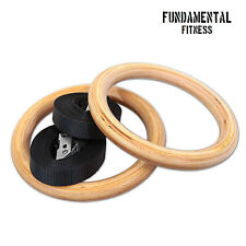 Fundamental Fitness Wooden Gymnastic Crossfit Olympic Rings Calisthenics