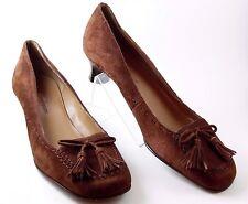 Anne Klein AK Womens Shoes Size 6 M Brown Suede Kitten Heel Tassell Moc Toe Pump