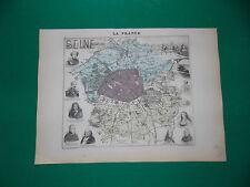 SEINE CARTE ATLAS MIGEON Edition 1885, Carte + fiche descriptive