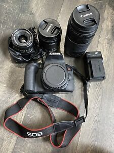 canon 800D/ t7i 24.2MP bundle with 18-55, 75-300, And 28mm Lenses and More