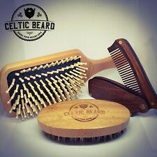 Beard Brush Set - Foldable Comb, Boar Bristle Brush and Air Bag Wooden Brush