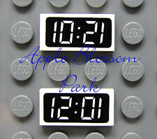 NEW 2 Lego Minifig Kitchen CLOCK 1x2 Black/White PRINTED TILE 10:21 12:01 Time