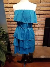 LILY ROSE Blue Ruffle Dress Strapless Turquoise Summer Cocktail Women's Medium