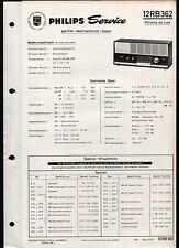 Röhren Radio Philips Philetta de luxe 12 RB 362 Service Manual 7 / 1966