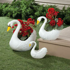 White Swan Flower Planters Set of 3 Garden Plastic Decor Plants Pots Lawn Accent