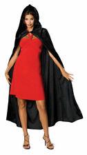 Hooded Black Velvet Cape Long Adult Halloween Costume Accessory Men Women Ladies