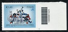 ITALIA 2011 YEAR of CHEMISTRY/AMPULES/MOLECULAR STRUCTURE/SCIENCE CODICE A BARRE