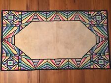 "Arts & Crafts Stained Glass Pattern Rug Aristex Floor Mat 38""x21"" Vintage 1940s"