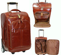 Real LEATHER Suitcase Luggage Exclusive Weekend Cabin Travel Trolley Bag COGNAC