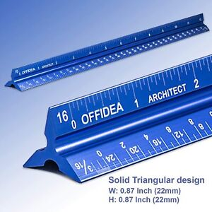 """Architectural Scale Ruler 12"""" Aluminum Architect Triangular Blue Students New"""