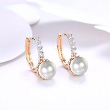 huge 12-13mm white fresh water pearl 18K White Gold Plated leverback earrings