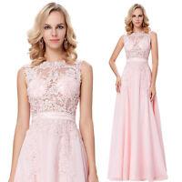 Long Sleeveless Sheer Bodice Chiffon Ball Gown Evening Prom Bridesmaid Dress