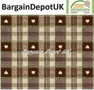 Brown Heart Check PVC Wipe Clean Vinyl Tablecloth ALL SIZES - Code: C57-4