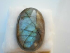 A Labradorite cabochon for jewellery making Oval 33x22x10mm Blue.