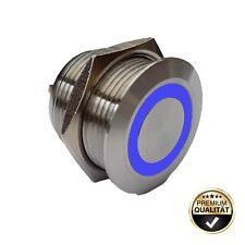 Klingeltaster 19 mm LED-Bel. blau, SCHRAUBANSCHLUSS Haustürklingel Klingelknopf