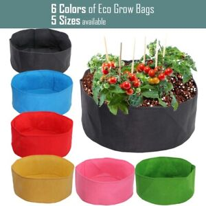 Round Fabric Growing Bags Garden Planting Containers Pot for Flowers Fruit Plant