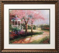 "Thomas Kinkade ""Morning Dogwood "" Newly CUSTOM FRAMED Art Print  Gazebo LIGHT"