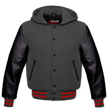 HOODIE in wool with hood College Jacket Baseball and cowhide arms